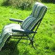 Reclining Sun Lounger With Green Striped Cushion