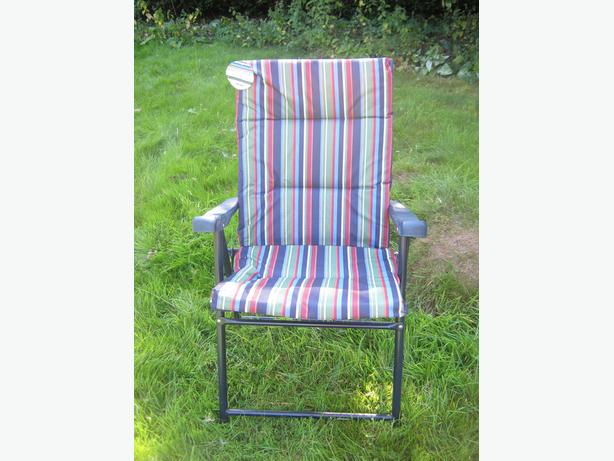 Garden Folding Sun Lounger With Striped Cushion