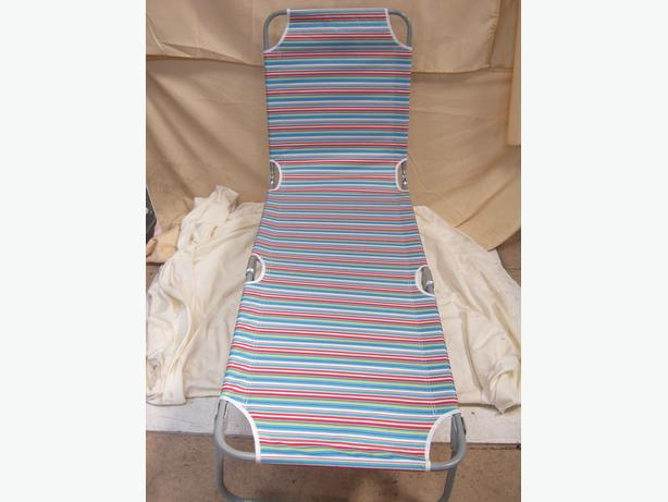 Garden Tropical Stripe Folding Sun Bed