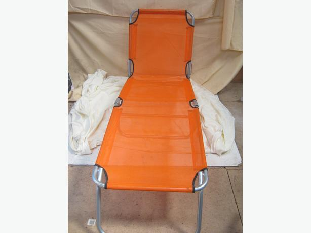 Garden Folding Sun Lounger Orange