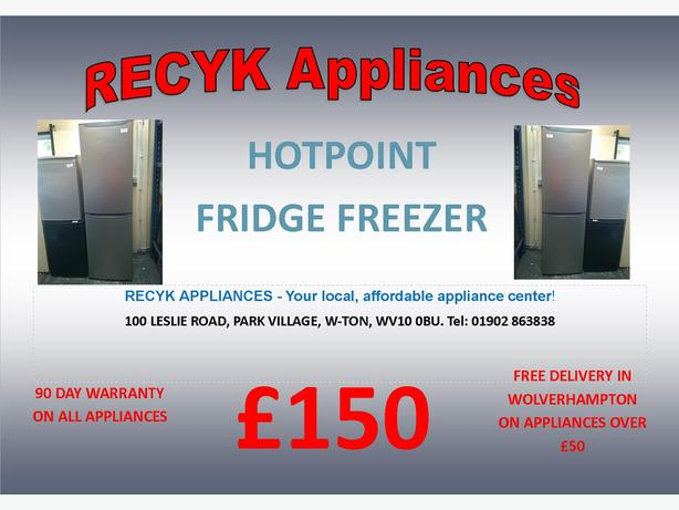 HOTPOINT TALL SILVER FRIDGE FREEZER WITH GUARANTEE