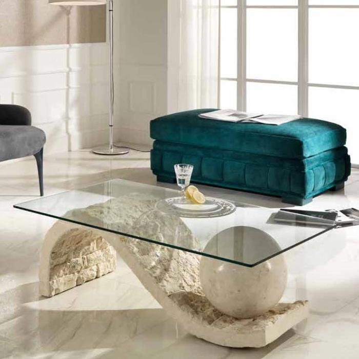 Coffee table italian square glass cream rock table cram for Cream glass coffee table