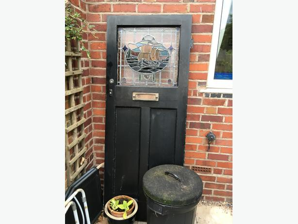 Solid Wood Door With Stained Glass Ship