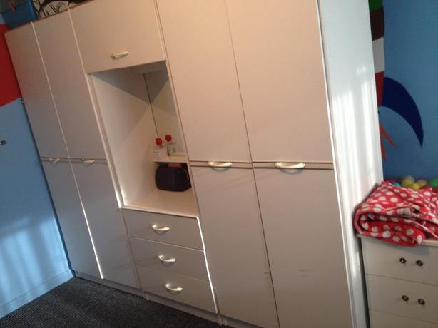 wardrobe and storage boxes