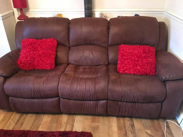 brown 3 + 2 reclining sofas dfs