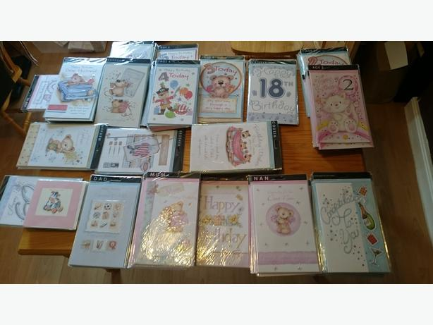 Job Lot 220+ Birthday Relation Large Cards & 120+ Gift Wrap, Ribbon, Tag