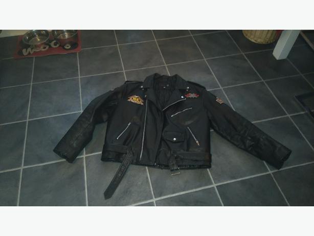 Leather biker jacket +helmet