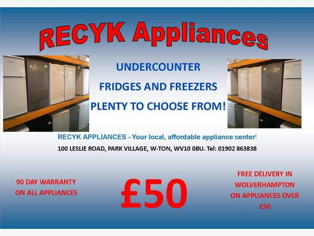 UNDERCOUNTER FRIDGES AND FREEZERS WITH GUARANTEE CALL 01902 863838