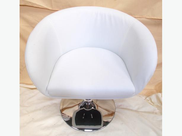 Faux Leather White Swivel Kitchen / Lounge Chair