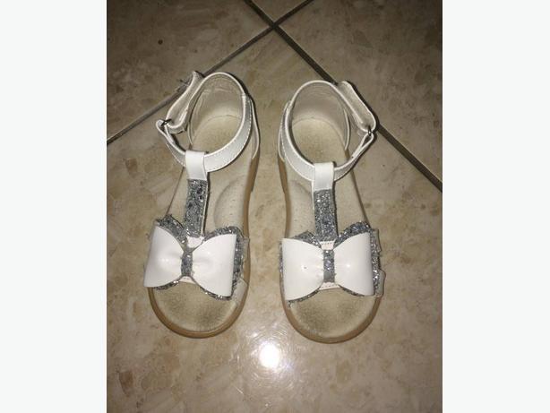 White & Silver Glitter Bow Sandals