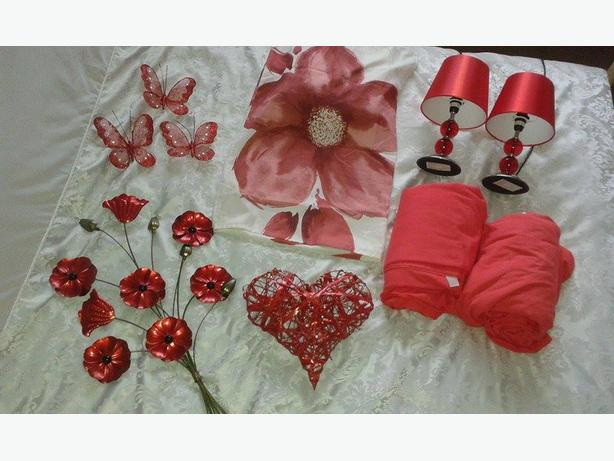 Bundle of red bedroom items