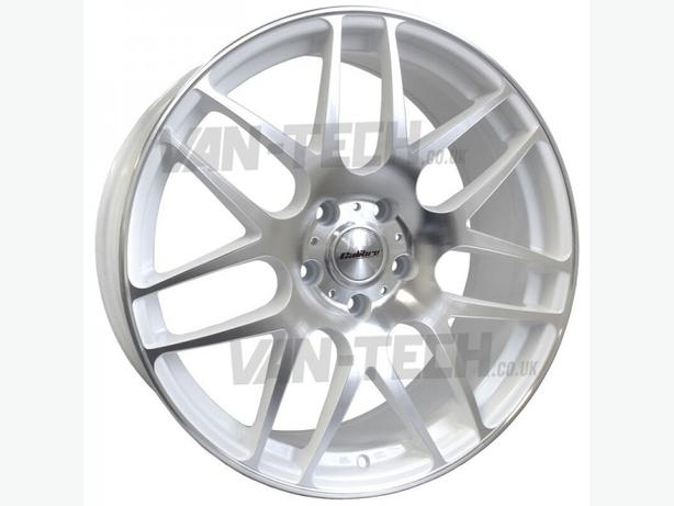 new 4 x Calibre Exile 18″ Alloy Wheels polished / White VW T5 Van