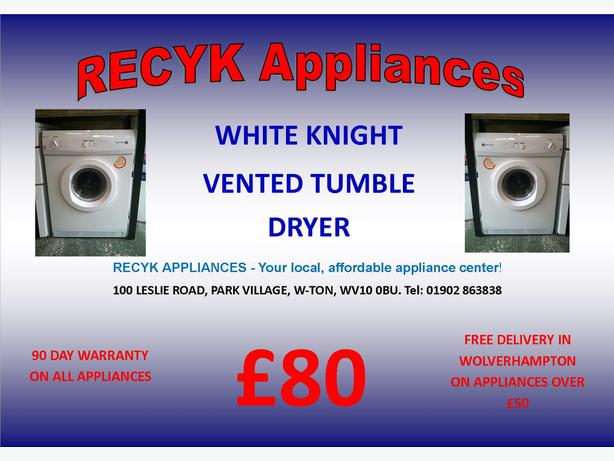 WHITE KNIGHT VENTED TUMBLE DRYER WITH GUARANTEE