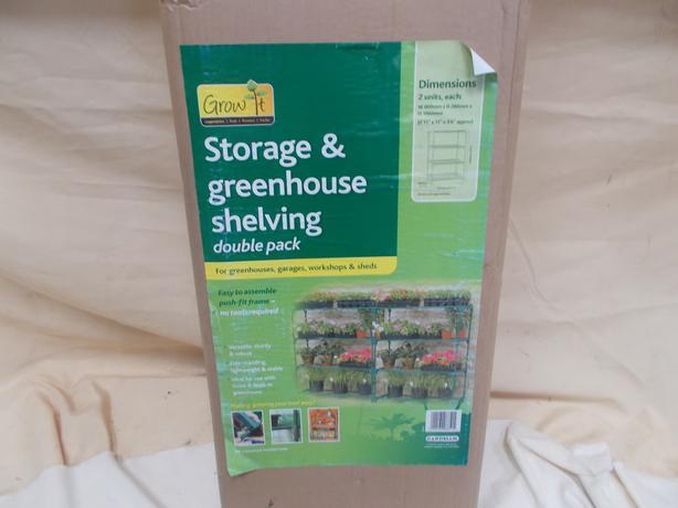 Gardman Greenhouse/Shed Storage Shelving Double Pack