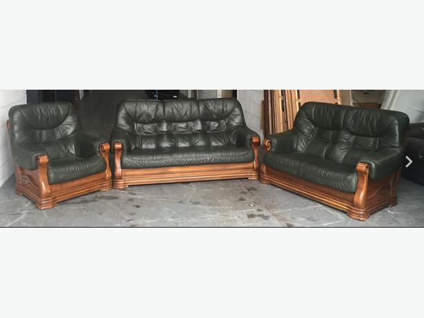 2500 chesterfield style antique green leather oak 3 piece for Used leather sofa set