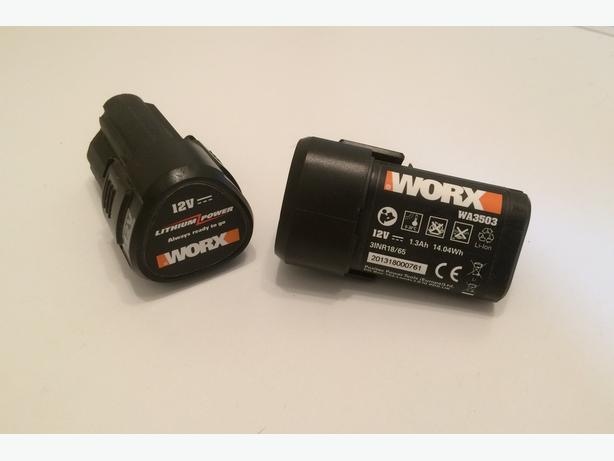 2 Worx Li-Ion batteries 12 volt WA3503