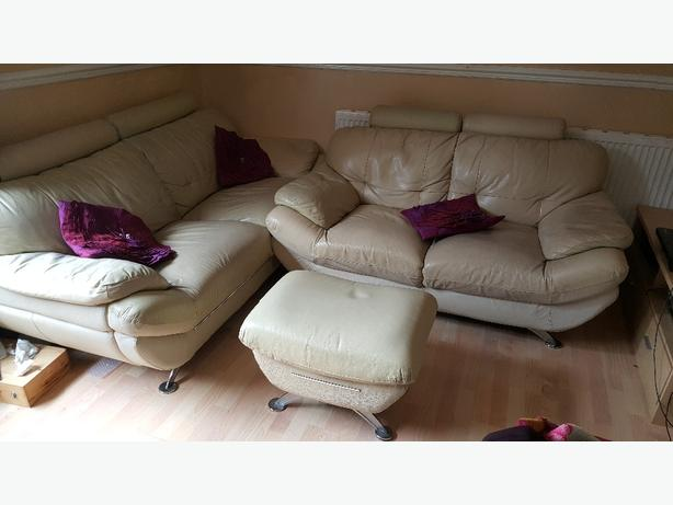3 +2+footstool cream leather sofa