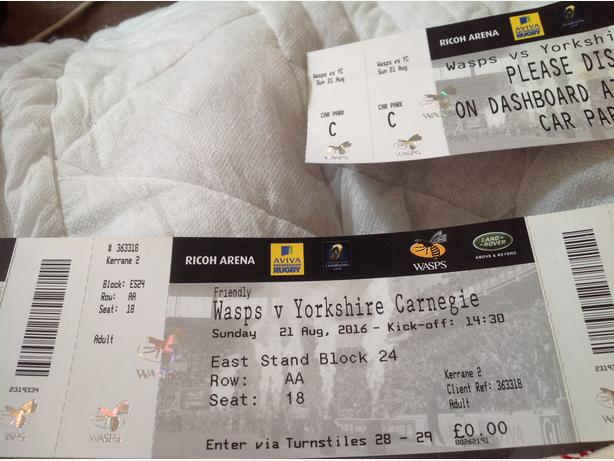 rugby tickets wasps v Yorkshire Carnegie