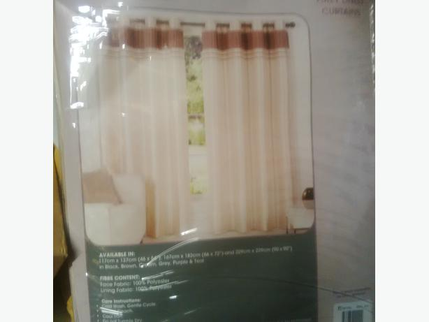 Cream Faux Silk Eyelet Curtains 46 x 54 BNIB (Matalan)