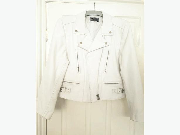 Ladies white leather jacket - large