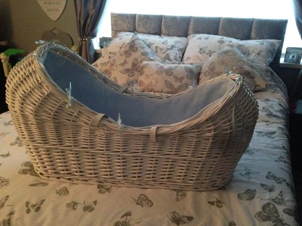 mothercare white and blue wicker moses basket