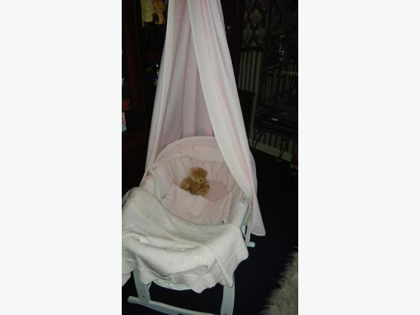 rocking pink moses basket