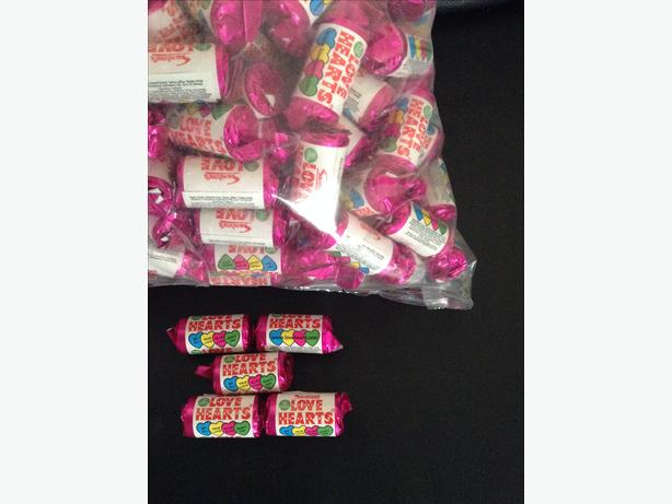 Sweets big bags mini love heart sweets around 280 rolls in a bag