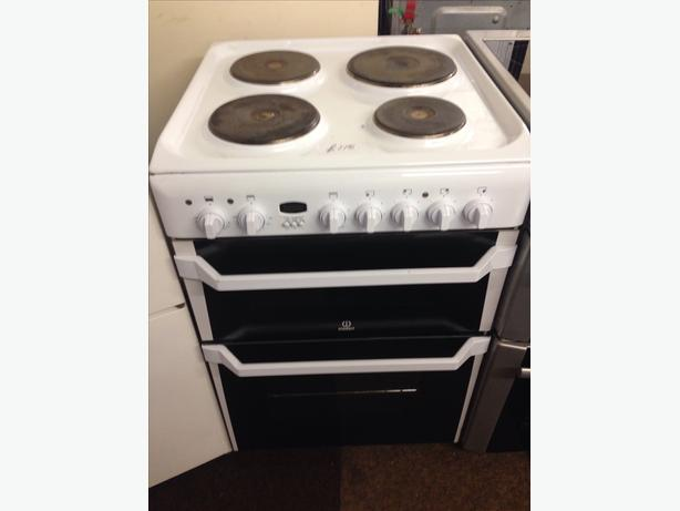 INDESIT PLATED TOP ELECTRIC COOKER 60CM DOUBLE OVEN