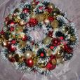christmas wreat and decorative baubles