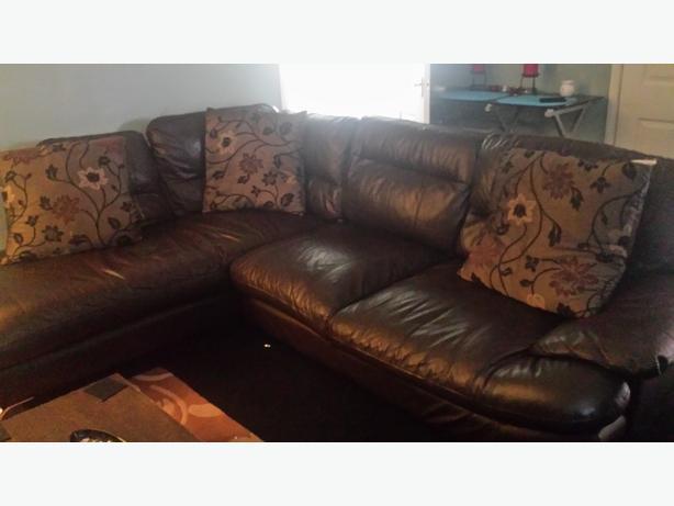 Chocolate Brown Corner Sofa and Pouffe/Footstool