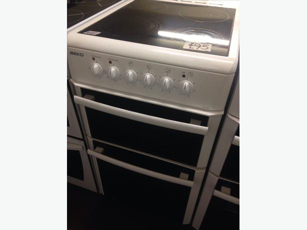 BEKO DOUBLE OVEN GLASS TOP ELECTRIC COOKER 50CM
