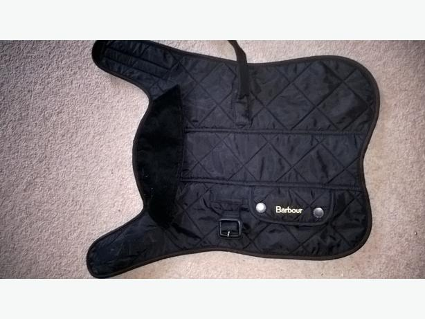 original Barbour dog coat. x2 neck scarfs