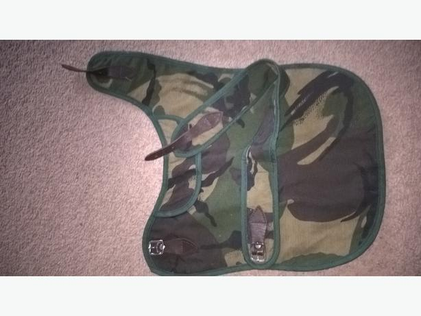 small camo dog coat plus lead and brush