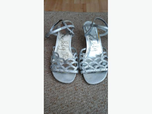 Girls size 3 Silver Heeled Sandals
