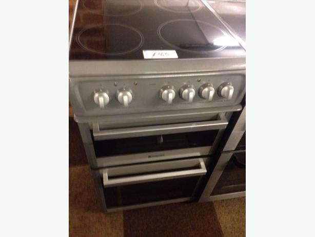 HOTPOINT GREY ELECTRIC COOKER PLATED TOP 50CM