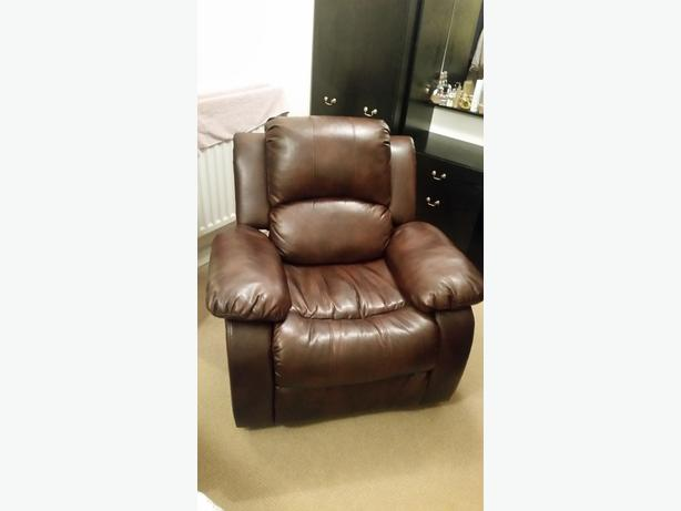Dark Brown Faux Leather Manuel Recliner Chair