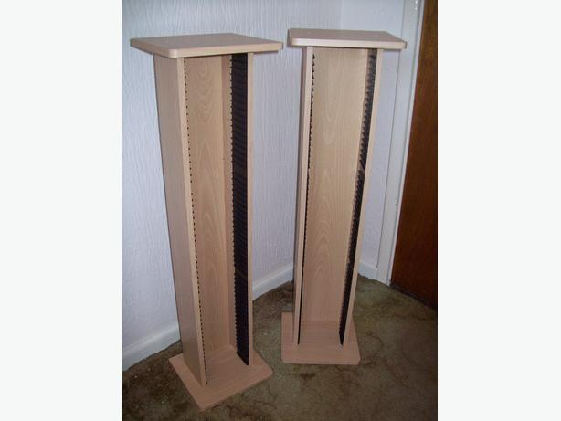 Two beech effect CD tower storage units