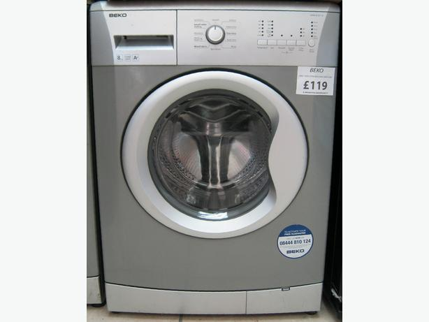 Beko Silver 8kg Capacity Washing Machine, 6 Month Warranty