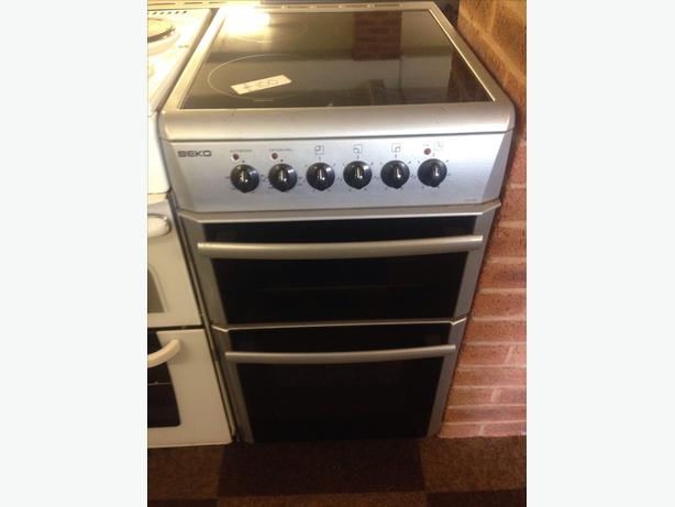 BEKO SILVER DOUBLE OVEN CERAMIC TOP ELECTRIC COOKER1