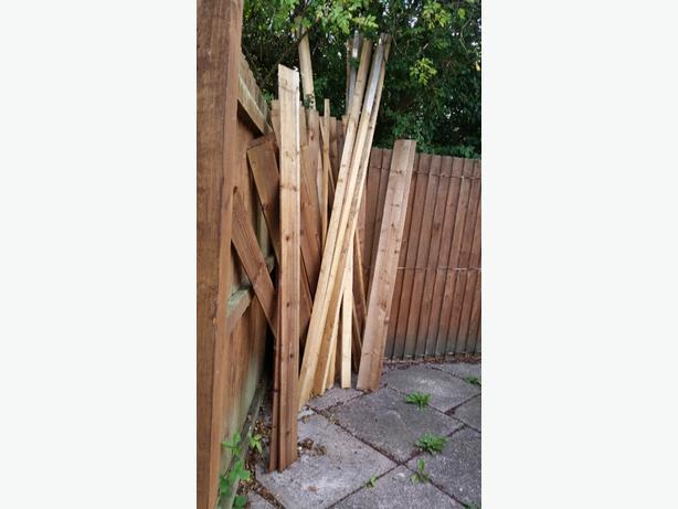 fence panels and wooden posts
