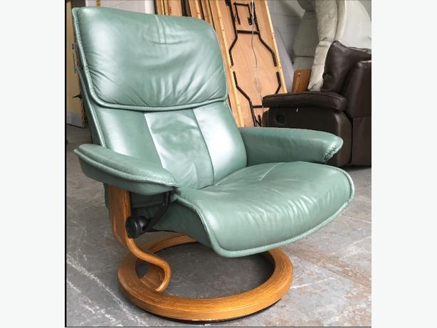 Ekorness Stressless Green Leather RECLINER Chair WE DELIVER UK WIDE