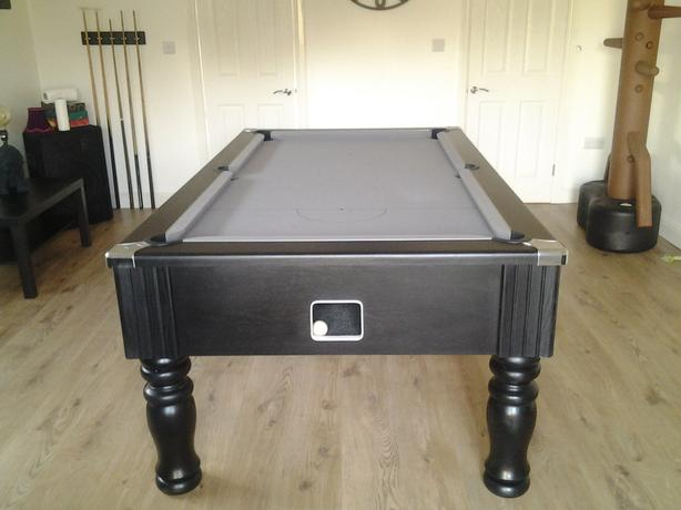 Grey cloth slate bed pool table with lights and accessories