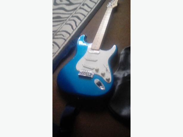 Metallic blue  electric guitar