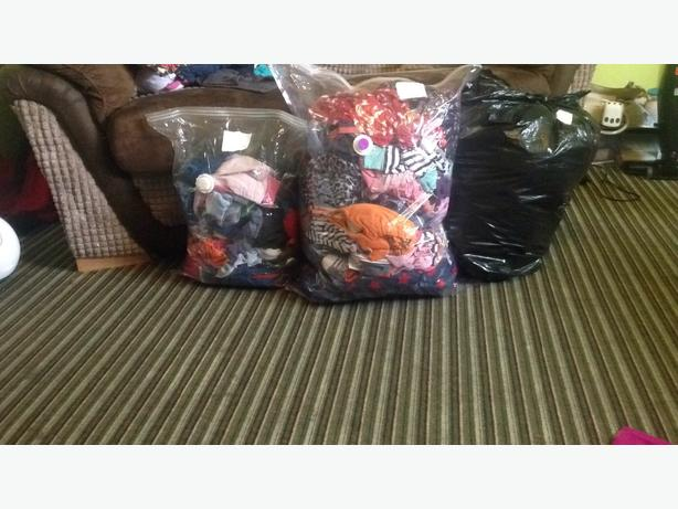 mixed bags of clothes