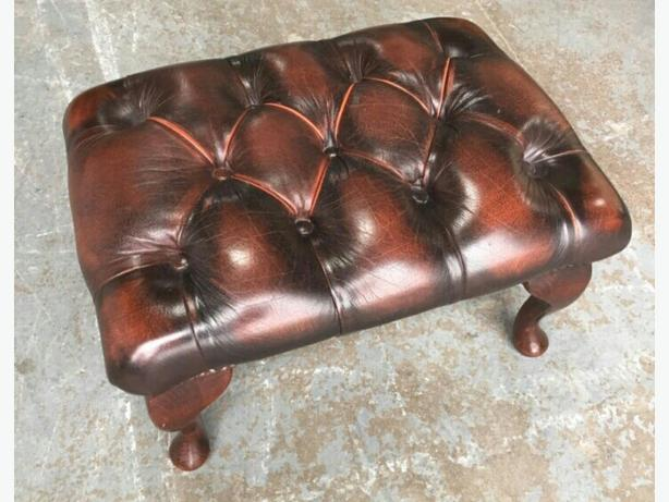 Ox Blood Red Leather Chesterfield Footstool. WE DELIVER