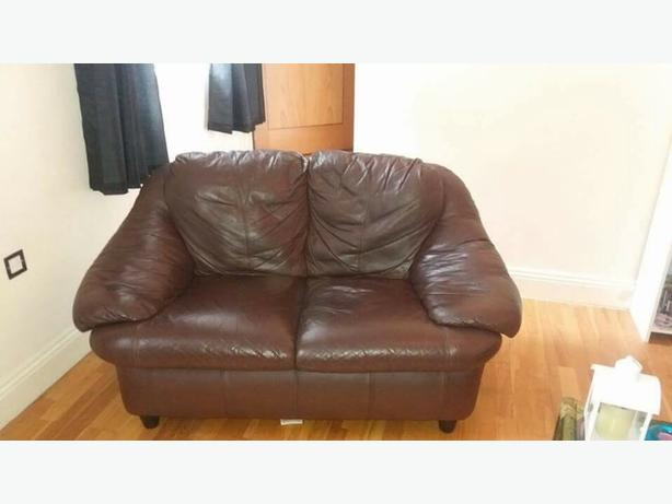 x 2 2 seater brown leather sofas
