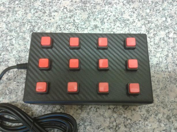 12 function USB button box for PC driving / racing and flight sims. Red version