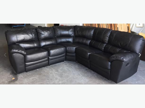 large black leather recliner corner sofa we deliver smethwick sandwell