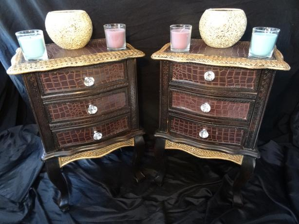 French Bergere Style Bow Fronted Gilt Leather Bedside Chest Tables