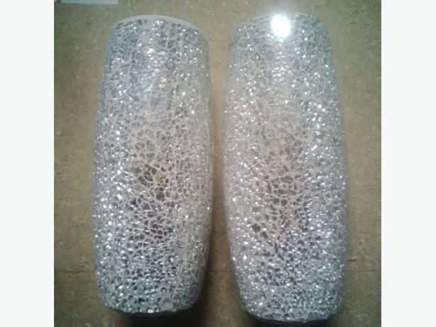 2 Silver Crackle Vases